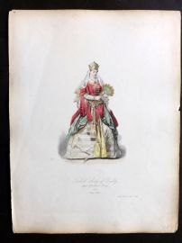 Pauquet 1868 Hand Col Costume Print. Turkish Lady of Quality 1581 Turkey
